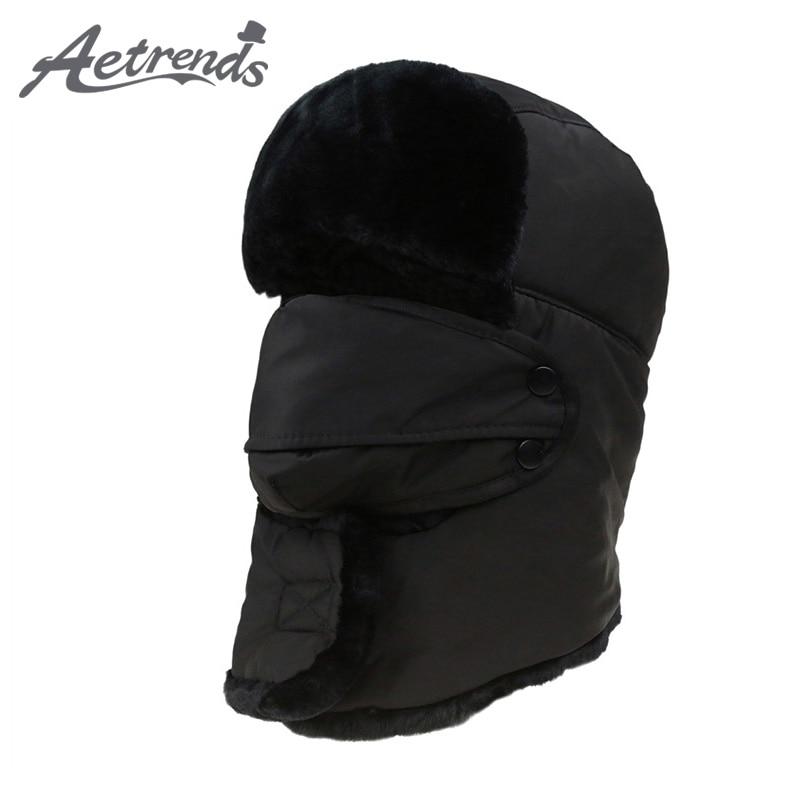 [AETRENDS] 2017 पुरुषों या महिलाओं के फर बॉम्बर सलाम सर्दियों रूसी टोपी आउटडोर गर्म विकर कान फ्लैप और मास्क Z-3877