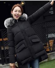 Дешево оптом 2016new Осень Зима Горячие продажа мода повседневная искусственный шерсти воротник вниз хлопка куртки теплые женские основные Пальто