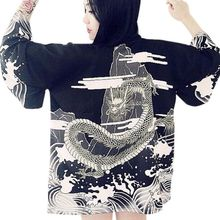 Women Japanese Harajuku style waves and wind dragon kimono print chiffon Blouses & Shirts