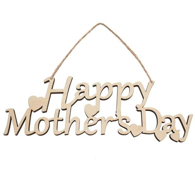 1PC Happy Mother\u0027s Day Letter Wooden Hanging Board DIY Holiday