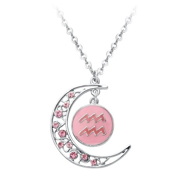 bcaeb4a640e61 2 Couleurs Croissant Lune Verseau Signe Du Zodiaque Constellation Pendentif  Collier Horoscope Astrologie Disque Collier Brillant