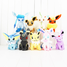 22cm Eevee Vaporeon Jolteon Flareon Espeon Umbreon Leafeon Glacia cute plush dolls Hot Japanese Anime Figure stuffed doll toy
