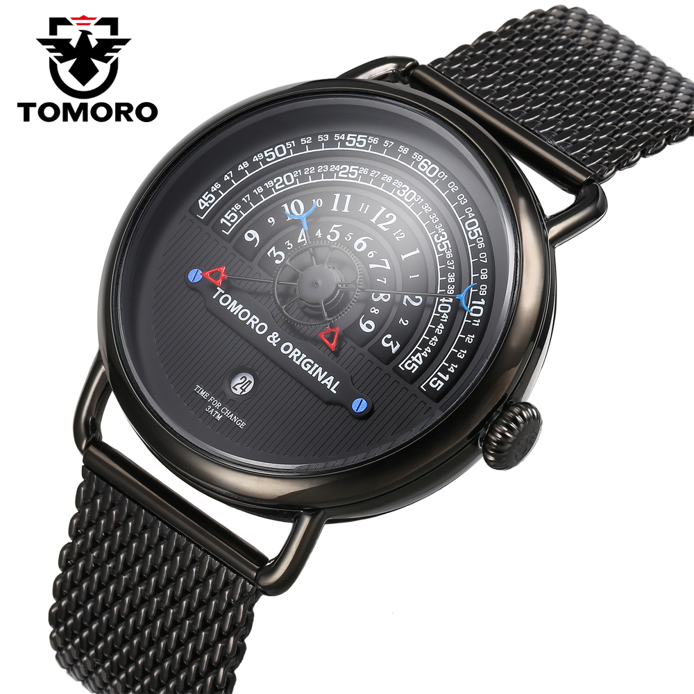 TOMORO Luxury Brand Mens Vogue Top Creative Quartz Hour All Black Stainless Steel Mesh Strap Men Casual Waterproof Gift Watches цена 2017