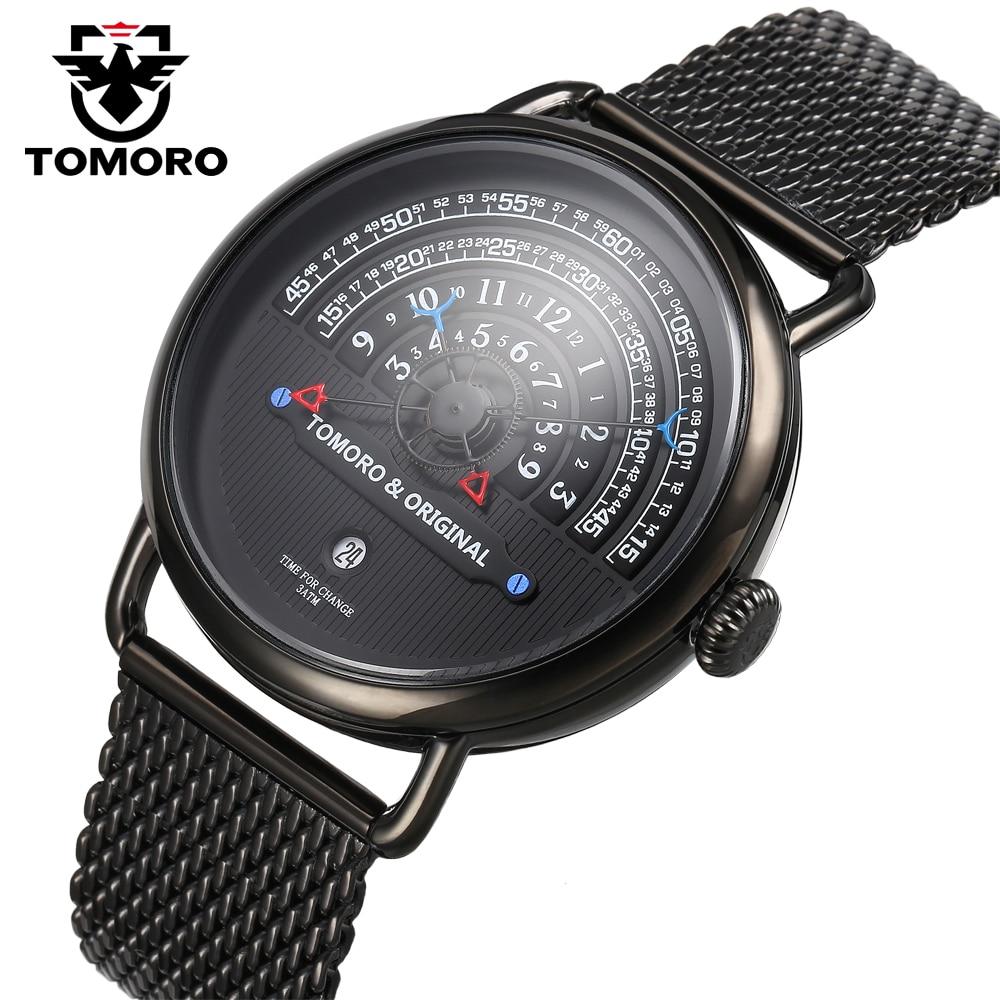 TOMORO Luxury Brand Mens Vogue Top Creative Quartz Hour All Black Stainless Steel Mesh Strap Men Casual Waterproof Gift Watches