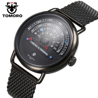 TOMORO Luxury Brand Mens Vogue Top Creative Quartz Hour All Black Stainless Steel Mesh Strap Men Casual Waterproof Gift Watches