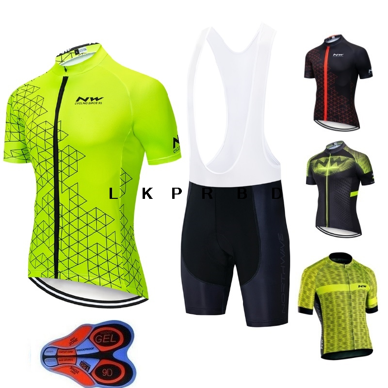 2019 Northwave NW Cycling Jersey Set Summer Short Sleeve Clothes Ropa Ciclismo Maillot Uniforms Hombre 9D bib short