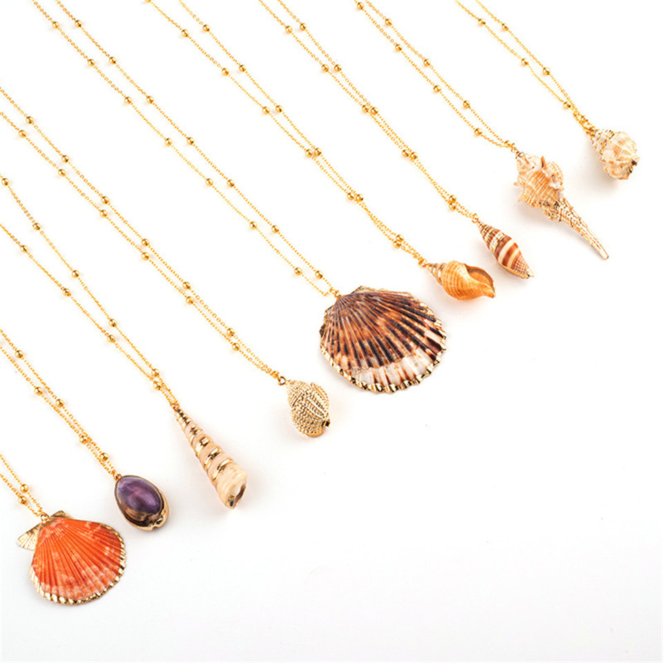 20 Styles Seashell Pendants Initial Necklace female Statement Jewlery Geometric Multix2dlayer Shells Choker Necklaces for Women (38)