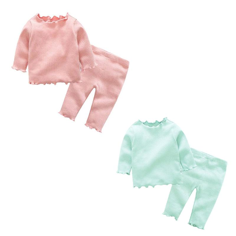 2pcs/set Baby Boys Girls Clothing Set Agaric-Lace Sleeve Solid Top+Pants Autumn Warm Cot ...