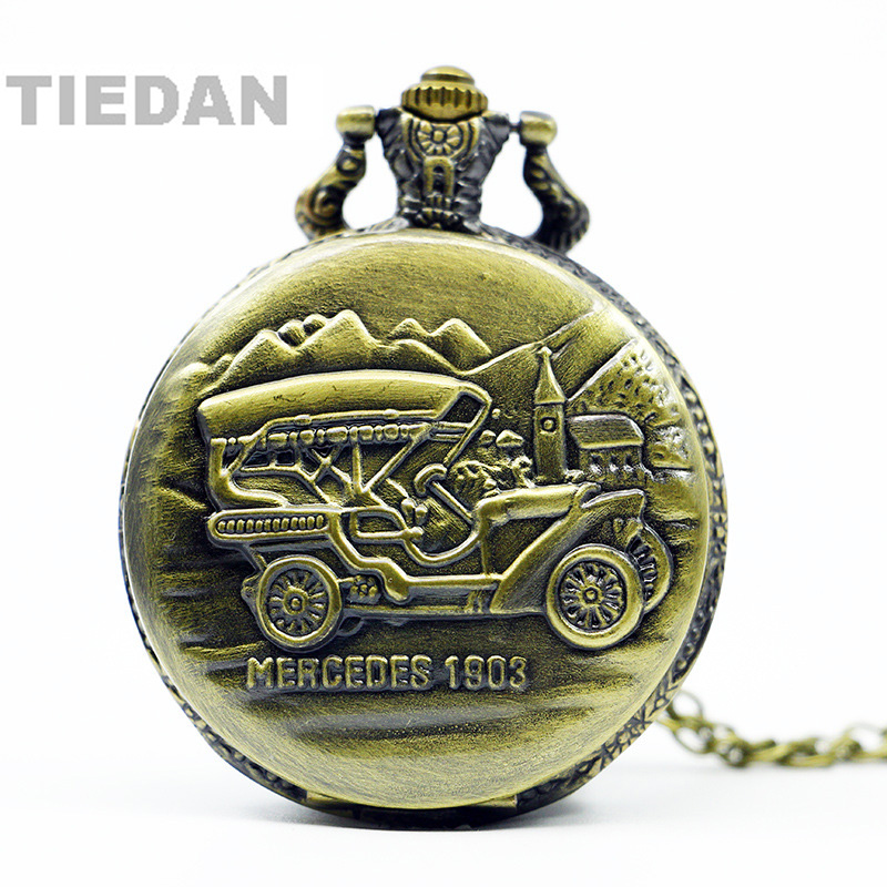 TIEDAN BRAND New Arrival MERCEDES Old Car Antique Retro Bronze Pocket Watches with Chain Necklace for Man Woman Gifts Fob Watch 2017 tops gifts vintage pocket watch sailboat ship bronze quartz watches for seaman man s clock necklace chain relogio de bolso