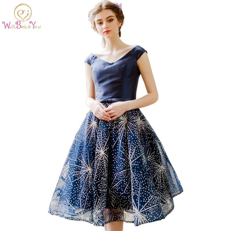 Walk Beside You Navy Blue Bling   Cocktail     Dress   2019 Evening Party Satin Knee Length Formal Gowns vestidos de festa cortos