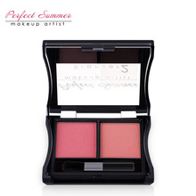 Perfect Summer Top Quality Professional Double Colors Cheek Makeup Blush Bronzer Blusher With Brush