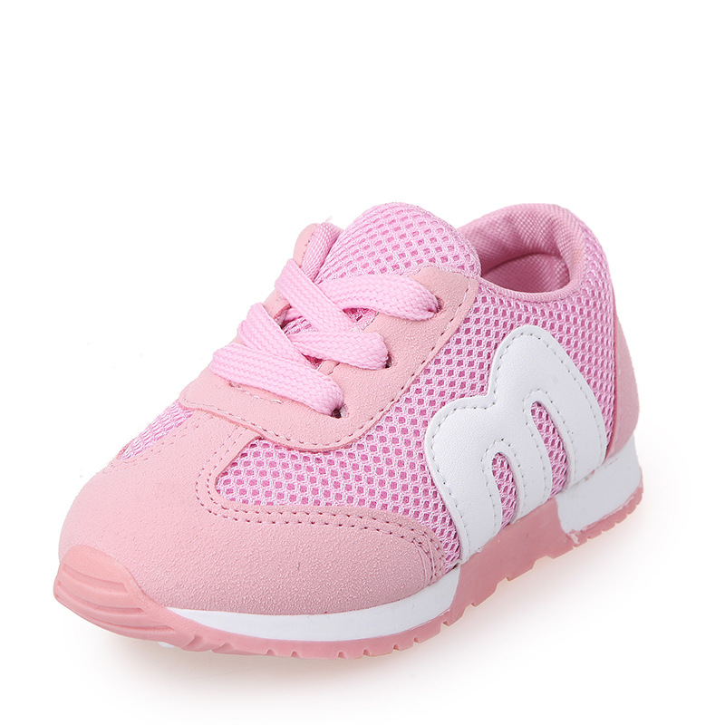 9d4dfddee555 Girls Boys Casual Shoes Letter M Sneakers Children Sports Shoes Baby Boys  Breathable Mesh Air Single Shoes Kids Running Shoes-in Sneakers from Mother    Kids ...