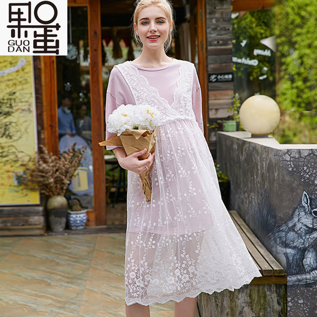 Maternity Dress New Spring and Summer Leisure Lace  High Waist Two Sets of Long Pregnant Women Skirt