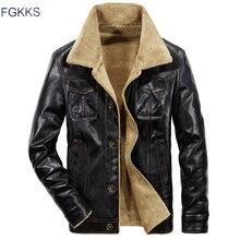 FGKKS 2020 Men PU Leather Jacket Winter Thick Warm Pilot Jacket Male Fur Collar Jacket tactical Men Jacket Coat