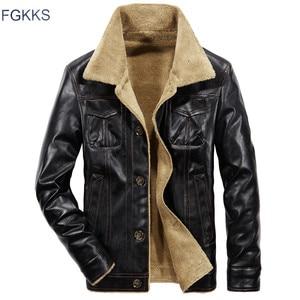 Image 1 - FGKKS 2020 skóra PU dla mężczyzn kurtka zimowa gruba ciepła kurtka pilotka męska kurtka z futrzanym kołnierzem taktyczna męska kurtka płaszcz