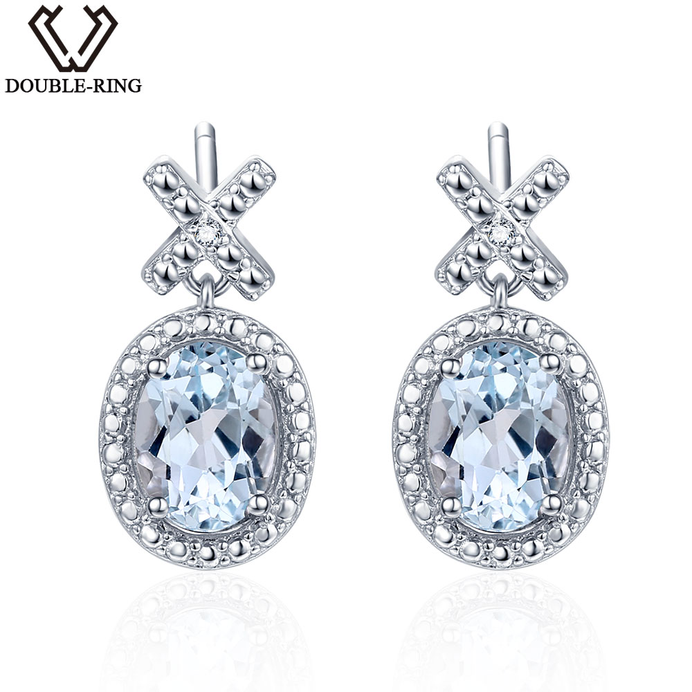 DOUBLE-R Women Diamond Earrings Oval 2.0 ct Topaz Natural Stone Dangle earrings Female 925 Silver Real Gemstone Diamond Jewelry double r 1 6ct natural diamond pendants female 925 silver oval topaz pendant necklace classic mother s day gift diamond jewelry