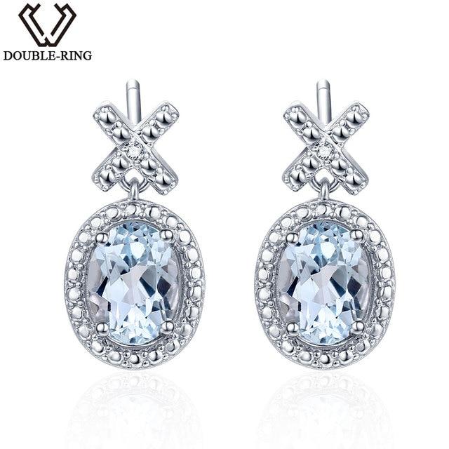 Double R Women Diamond Earrings Oval 2 0 Ct Topaz Natural Stone Dangle Female 925