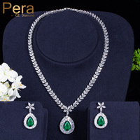 e88617d28970 Classic White Gold Plated Marquise Shape AAA Cubic Zirconia Women Wedding  Party Emerald Green Jewelry Sets. Pera clásico Color oro ...