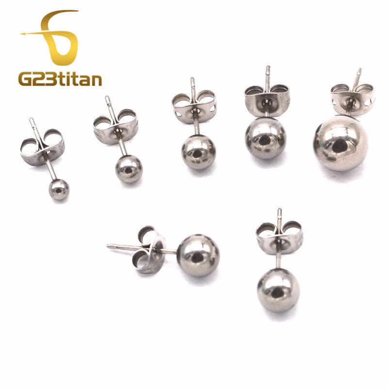 G23titan 100% G23 Titan Bóng Bông Tai Bông Tai Xỏ Nữ Trang Sức Nam/3/4/5/6/8Mm Bi Nút Tai