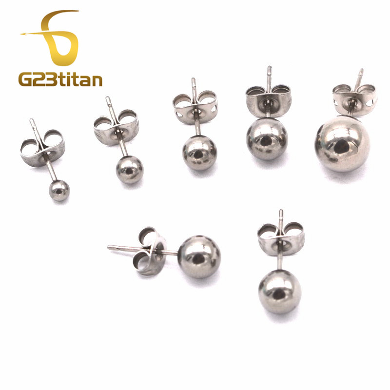 G23titan 100% G23 Titanium Ball Earrings Stud for Ear Piercing Women Men Jewelry 3/4/5/6/8mm Balls Ear Plugs