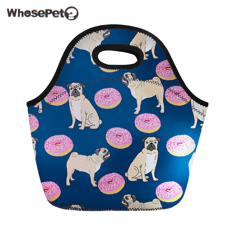 WHOSEPET Lunch Bags For Kids Cute Pugs Women Sac Isotherme Lunch Box Food Cooler Bag Personalized Lancheira Escolar Infantil New