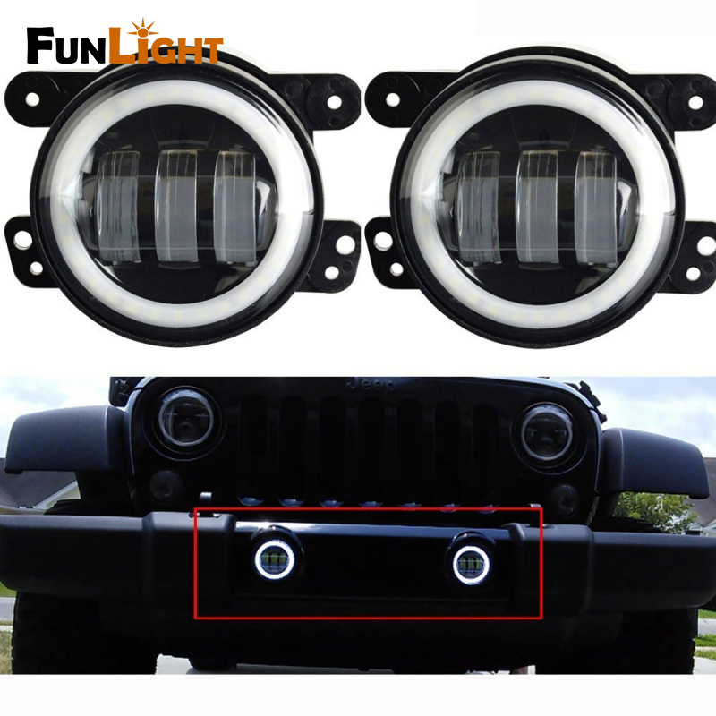 Funlight 30W 4 inch Auto Round LED Fog Light with angle eye for Jeep Wrangler JK 2007-15 left hand a pillar swith panel pod kit with 4 led switch for jeep wrangler 2007 2015