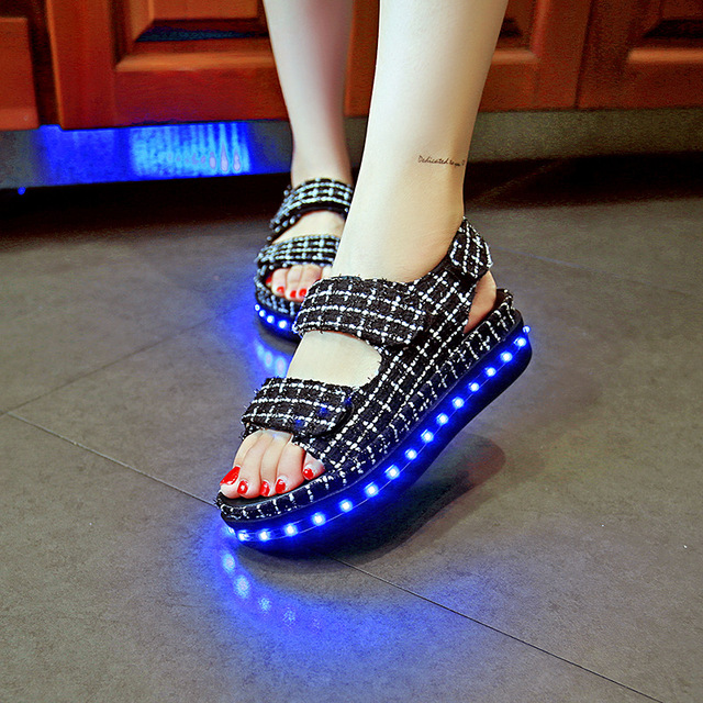 ee048b340dcf Summer Women Colorful glowing with lights up LED Shoes luminous Sandals  Woman Light Up Platform Shoes High Heels Casual slipper