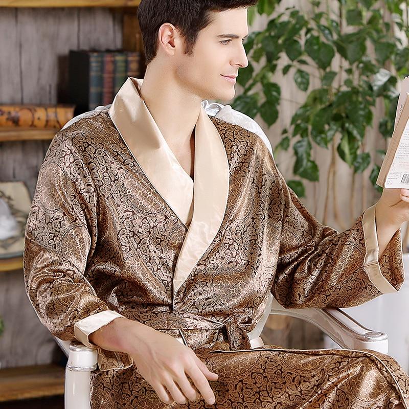 Hot Sale Free Shipping Men Bathrobe Geometric Robes V neck Imitation Silk Sleepwear Full Sleeve Nightwear