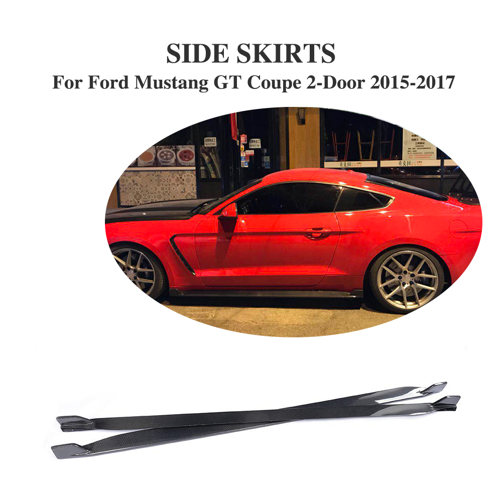 2PCS/SET Carbon Fibre Side Door Bottom Line Lip Skirts for Ford Mustang Coupe 2-Door 2015-2017 Non Shelby GT350 свитшот print bar ford mustang shelby gt500 [шредер]
