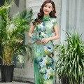 Venta caliente de Las Mujeres Chinas De Seda Verde de Largo Estilo de Moda de Verano Cheongsam señora Elegante Delgado Qipao Vestido Tamaño Sml XL XXL XXXL