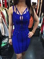2016 novo vestido de festa azul e preto Sling Beading moda de luxo magro Bandage vestido ( L1257 )