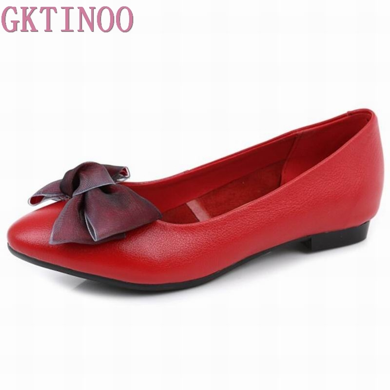 GKTINOO 2018 Spring New Bow Knot Pointed Toe Women Flats Genuine Leather Shallow Comfortable Boat Shoe Big Size Lady Flats