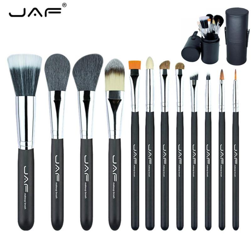 JAF 12Pcs Makeup Brushes Kit Studio Holder Tube Convenient Portable Leather Cup Soft Hair Synthetic Fiber Make Up Brush Set YE2 dental kerr finishing polishing assorted kit occlubrush cup brushes