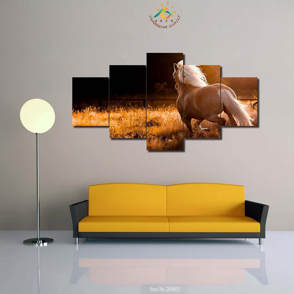 3-4-5 Pieces Sunset Horse Picture Poster Modern Wall Art Canvas Printed Painting for living Room Modular Pictures For Home Decor