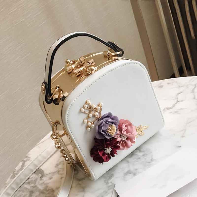 Европейский цветок цепи Для женщин сумка Высокое качество Pu Для женщин кожаная сумка мешок руки розовый девушки Портфели Bolsas Femininas Sac