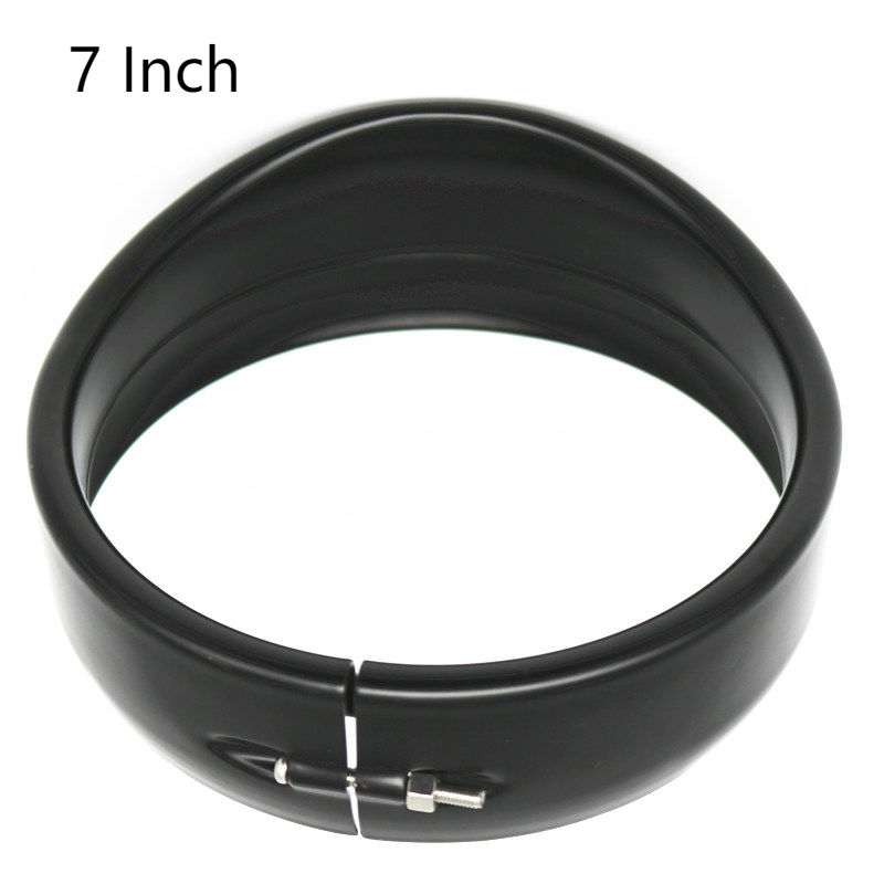 7Inch Motorcycle Visor Style Trim Ring, Black/Chrome Headlight Trim Ring Cover Bezel For Road King Electra Glide