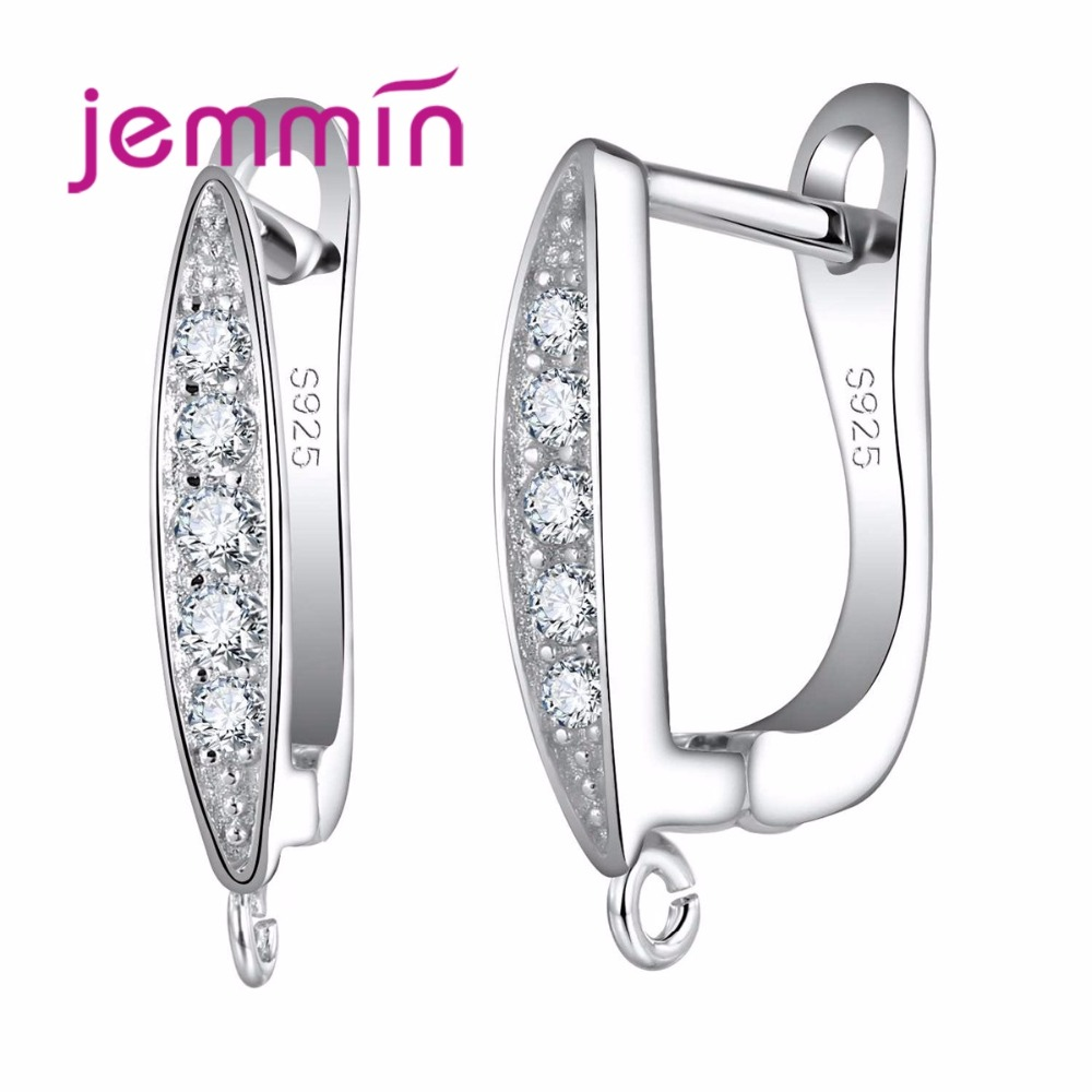 Jemmin S925 Sterling Silver Earring Connector DIY Making Jewelry With Micro Rhinetone Hooks Ear Wire Components Bijoux