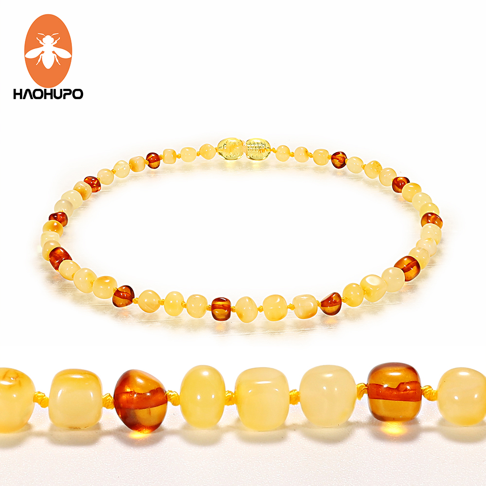 HAOHUPO Honey Amber Teething Necklace for Baby Children Women Fashion Natural Amber Beads Necklace Baby Collar Jewelry Drop Ship