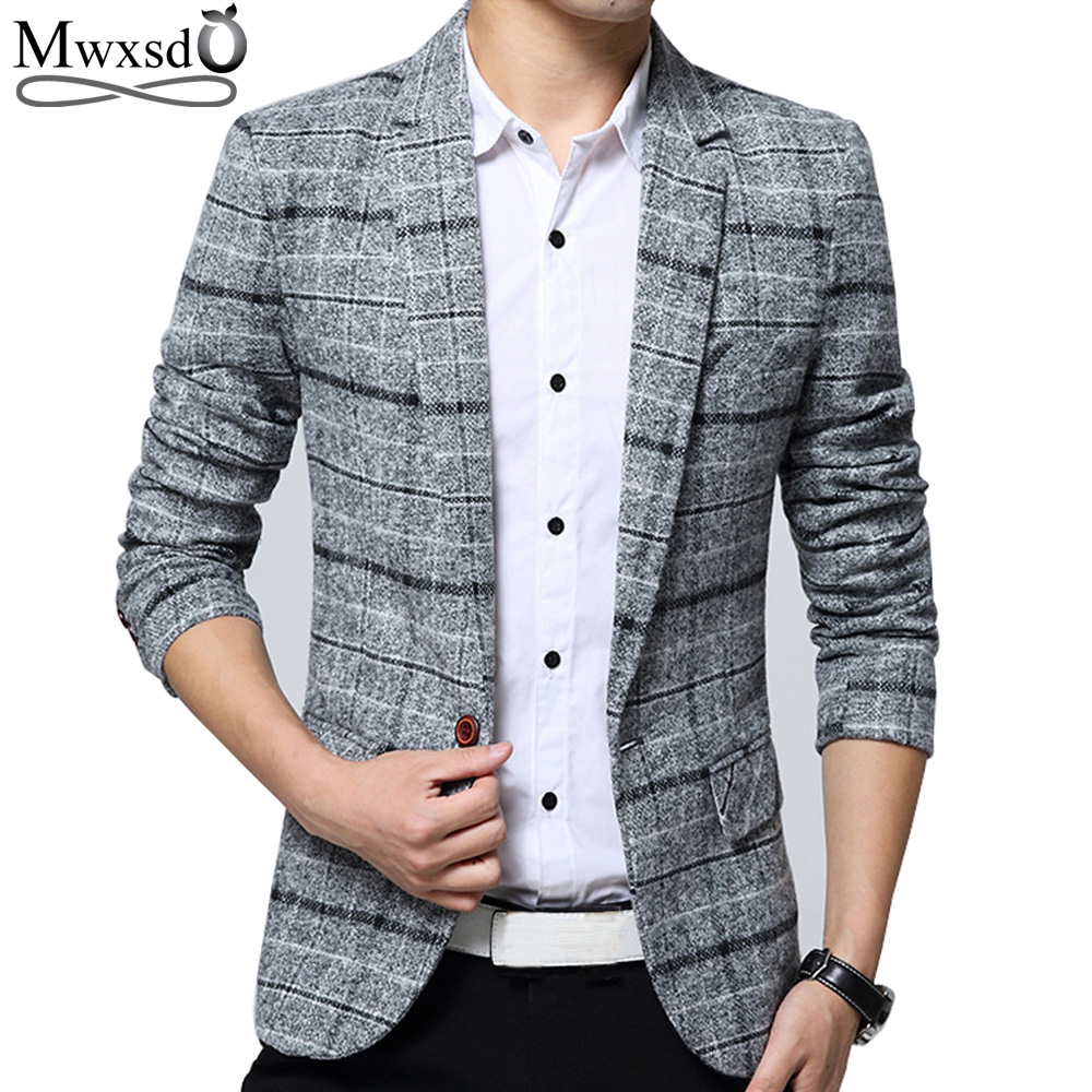 Mwxsd Brand Quality  Autumn Suit Blazer Men Fashion Slim Male Suits Casual Suit Jacket Masculine Blazer Size M-3XL