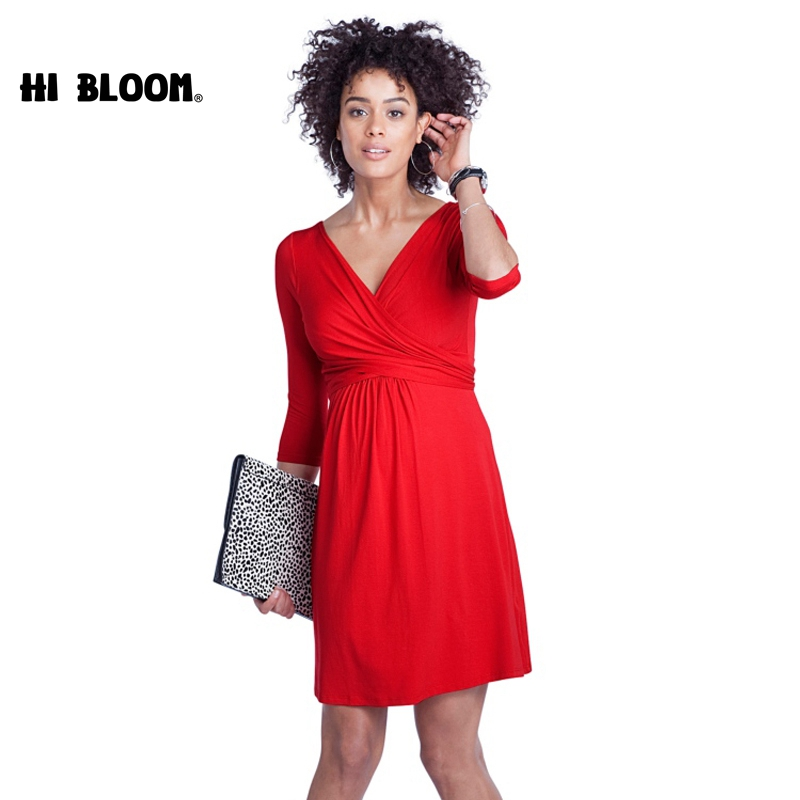 Nursing Dresses for Pregnancy Women V-Neck Office Lady Maternity Dresses Elegant Evening Party Dress For Pregnant Women maternity dresses v neck elegant evening dress for pregnant women knee length office lady business dress pregnancy clothes