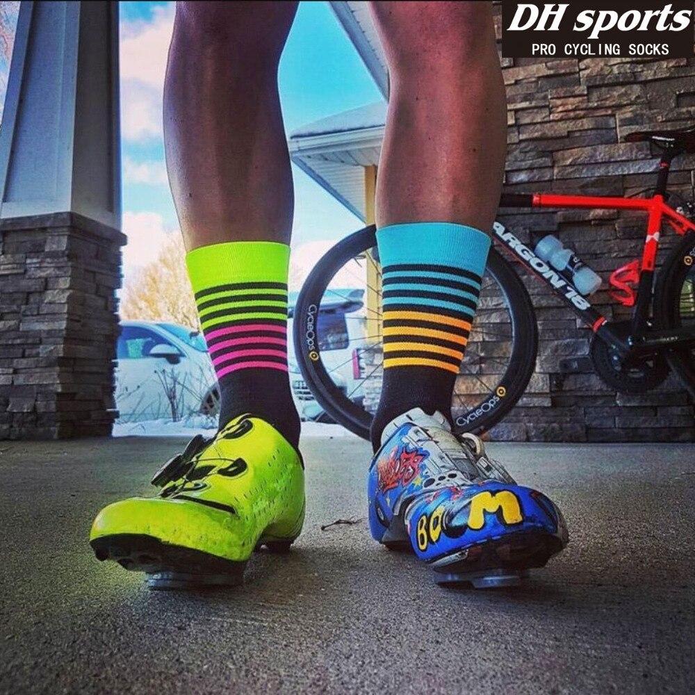 6 Цвет Fshion Вело-носки Новый Вело-носки Для мужчин Для женщин профессиональный дышащий Спортивные носки Баскетбол Носки для девочек ...