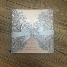 Elegant Glitter Silver Laser Cut Wedding Invitation Card 3d Handmade Royal Fancy Invitations With Hot Stamping Rose Gold Words