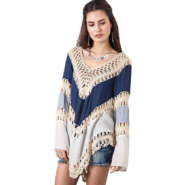 Tienda Online Hippie blusa kimono Boho crochet mujeres Blusas 2017 ...
