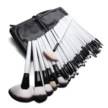 32Pcs Makeup Brushes Set White And Black Handle Pro Foundation Blush Cosmetic Brush Tools Kit With Pouch Bag