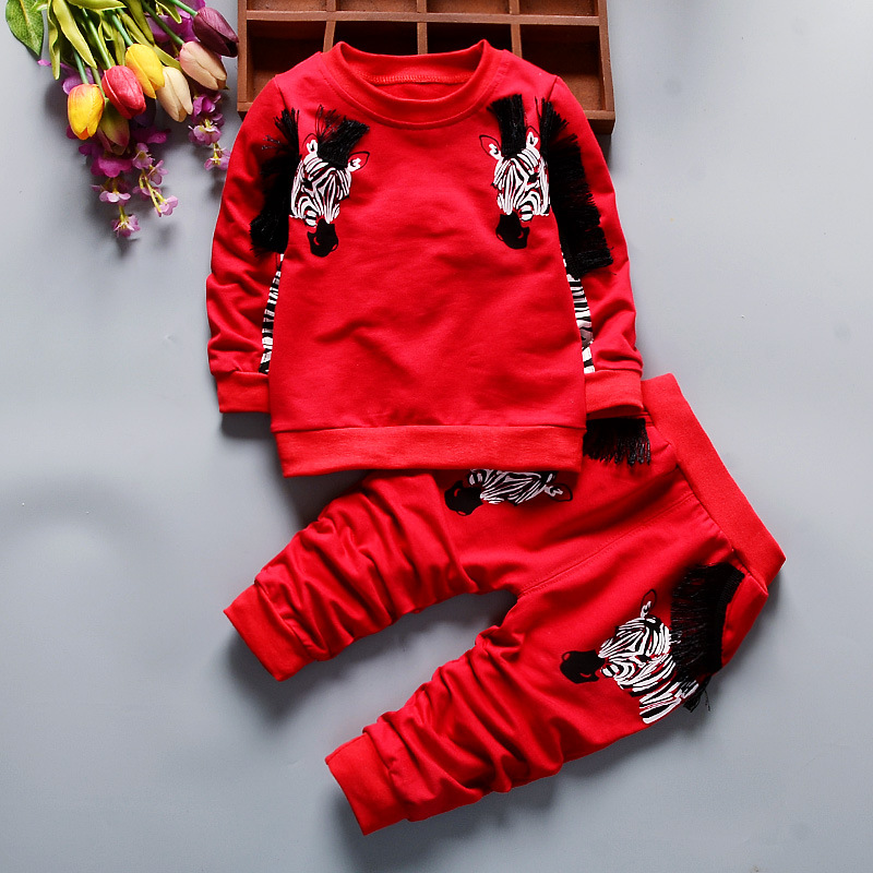 2016 Autumn New Baby Boy Clothes Long sleeved Zebra T shirt striped Pants Newborn Toddlers Baby