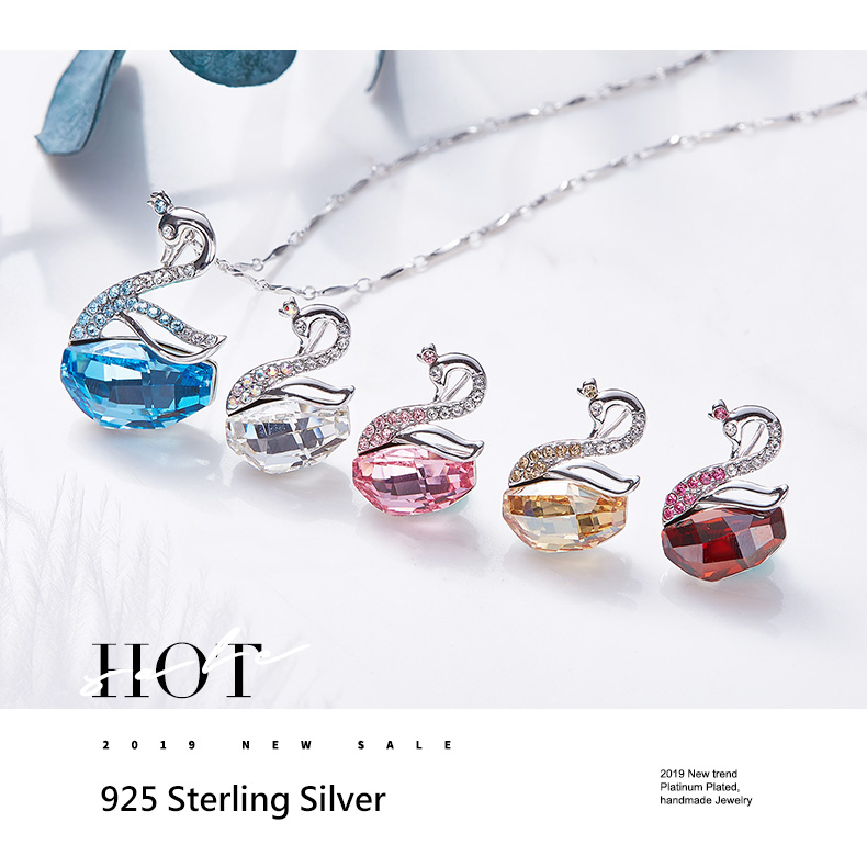 Swarovski Swan Necklace Earrings Set (11)