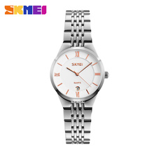 Hot fashion creative watches women men quartz watches SKMEI brand unique dial design lovers' watch full steel wristwatches clock