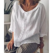 Women Tops 2019 Summer Casual 3/4 Sleeve Solid Lapel Linen Blouse Female Plus Size Shirts