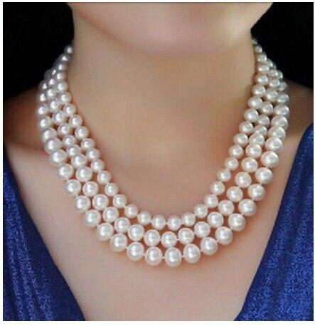 Brins triples 8 - 10 mm ronde Akoya perle blanche necklace18-20 pouces 14 K fermoir ^^^@^ Noble style fin naturel jewe gratuite ( C0309 )