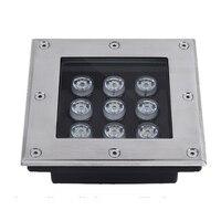 Lâmpada ao ar livre IP66 9W RGB 9W conduziu a lâmpada subterrânea de aço inoxidável À Prova D' Água AC85-265V 24V Enterrado Levou Baralho piso do jardim Inground